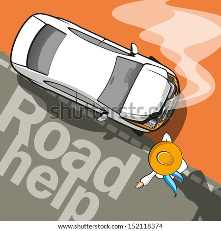 Road Help / Broken car on the road and driver assistance - stock vector