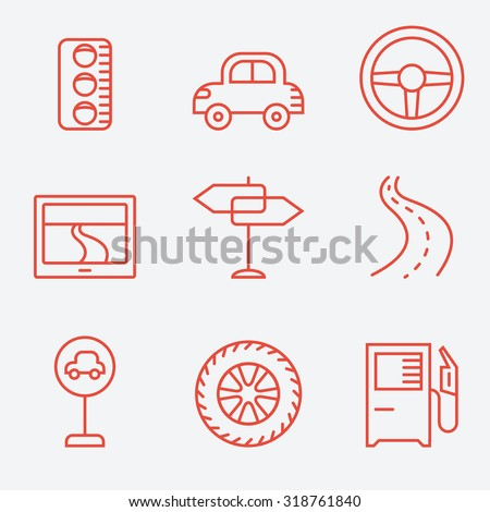 Road icons, thin line style, flat design - stock vector