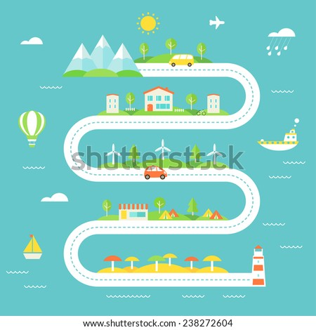 Road Illustration with Mountains, Fields, Town, Wind Electric Stations, Camp and Beach Areas. Travel, Tourism, Sustainable Lifestyle Concept - stock vector