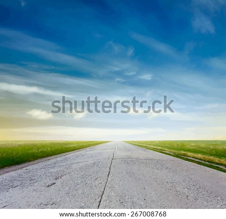 road in a fields at sunset, vector - stock vector
