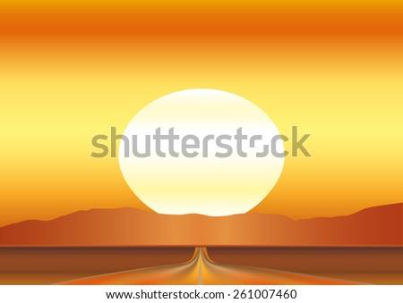 Road in desert with haze. Vector illustration background - stock vector