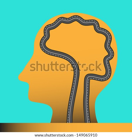 Road in human head and brain,vector illustration - stock vector