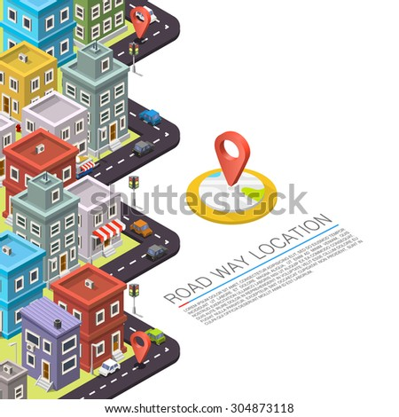 Road in the city Isometric, cityscape location, Vector background - stock vector