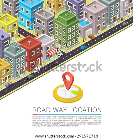 Road in the city Isometric. Vector background - stock vector