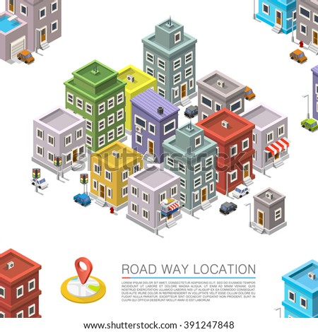 Road in the cityscape Isometric, City location apartment, City and color, Vector background