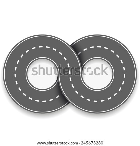 road in the form of an infinity sign - stock vector