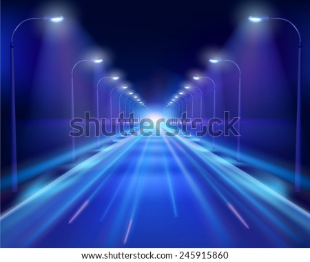 Road in the night. Vector Illustration. - stock vector