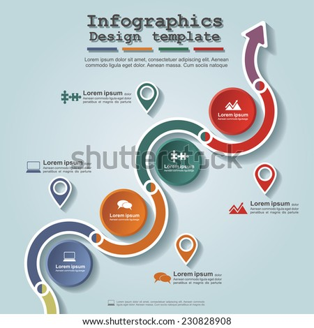 Road infographic timeline element layout. Vector illustration. - stock vector