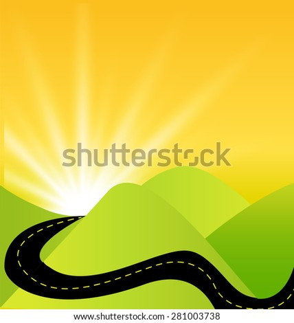 Road journey success on green ecology mountains background symbol vector logo design template - stock vector