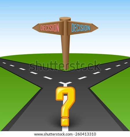 Road junction to choose with question mark - stock vector
