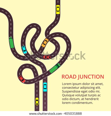 Road junction with cars and tracks. A vector illustration of highway viewed from above - stock vector