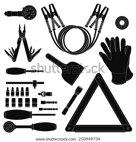 Road kit silhouettes set. Tire pressure gauge, jumper cables, insulating tape, working gloves, emergency sign, flashlight, ice scraper, ratchet set, screwdriver, multi-tool. Vector illustrations - stock vector