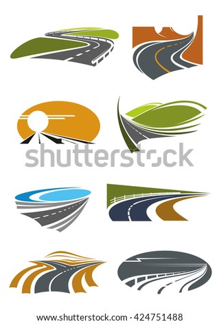 Road landscapes icons for travel theme and car trip design usage with mountain and coastal highways, country and desert roads with steep turns and forked crossing - stock vector