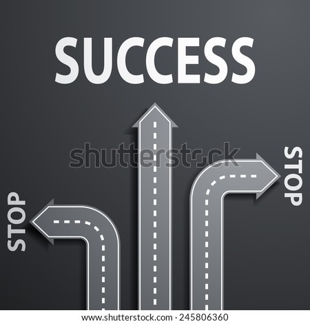 road leading to success - stock vector
