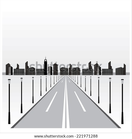 Road leads to the city - stock vector