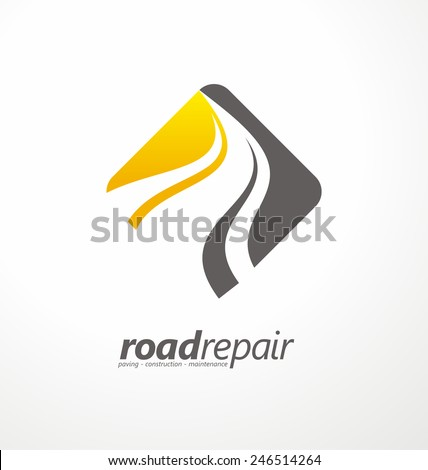 Road maintenance creative sign concept. Paving logo design template. Construction vector icon idea with highway in negative space. Transportation and traffic theme. - stock vector
