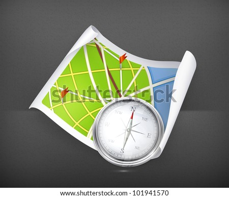 Road Map and compass, vector - stock vector