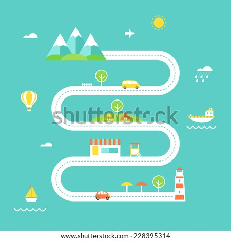 Road Map Illustration. Travel and Recreation Concept. Flat Design - stock vector