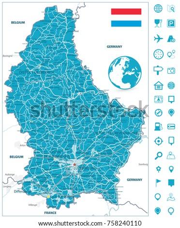 Road Map Luxembourg Navigation Icons Highly Stock Vector 758240110