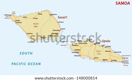 road map of Samoa