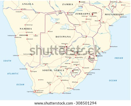 road map of Southern Africa - stock vector