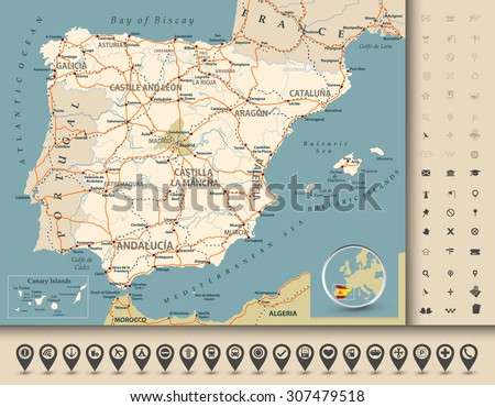 Road map of Spain with highways, railroads, cities, rivers and navigation icons/Road map of Spain. - stock vector