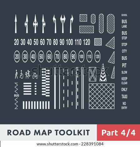 Road Map Toolkit. Part 4 of 4: Basic Elements of Road Marking. - stock vector