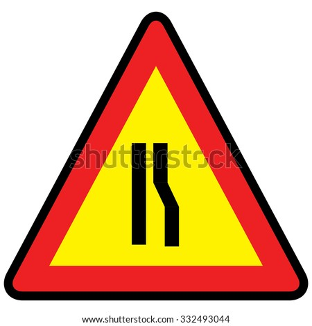 Road narrows sign right side, vector illustration