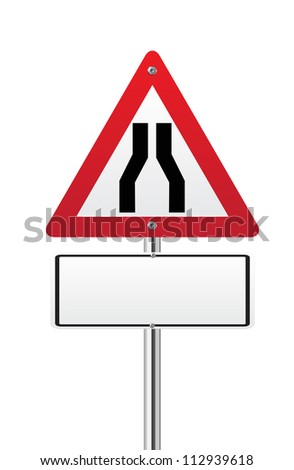 Road narrows traffic sign on white - stock vector