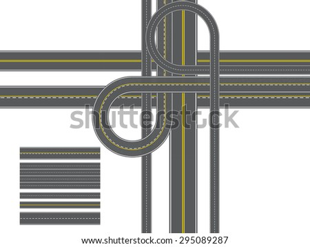 road of Isolated Connectable Highway Elements, vector illustration