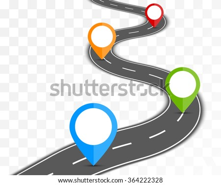 Road path on transparent background with pin pointer vector illustration - stock vector