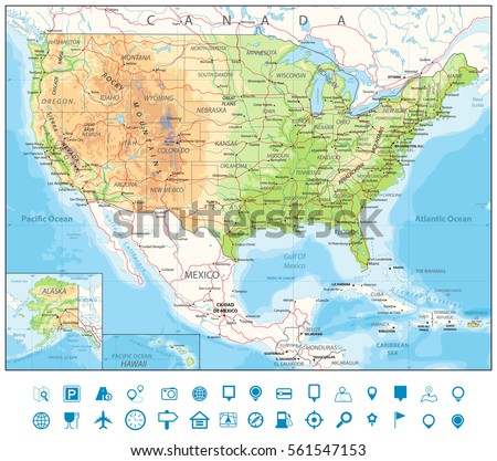 Road Physical Map Usa Roads Railroads Stock Vector - Map usa road