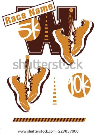 Road Race Logo Elements Including Sneakers - Vector Art - stock vector