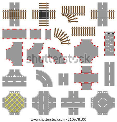 Road, rail and race track vector elements  - stock vector