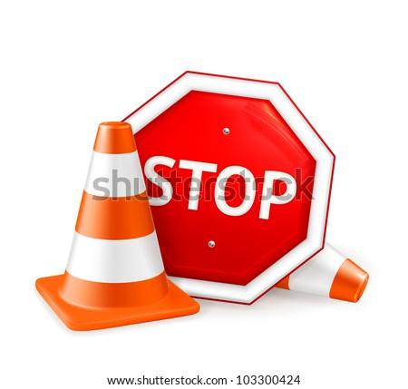 Road repair, vector - stock vector
