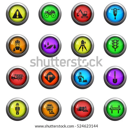 road repairs icons on color round glass buttons for your design