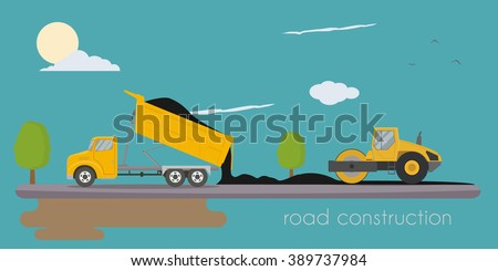 Road roller and truck making road - stock vector