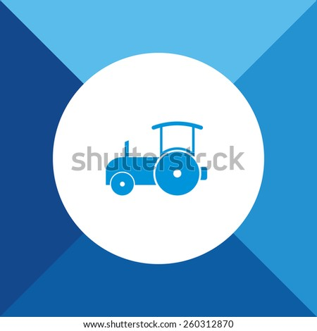 Road roller Icon on Blue Background. Eps-10. - stock vector