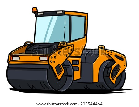 Road Roller.  Vibration roller compactor isolated on white background.  Cartoon illustration