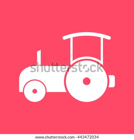 Road Roller white icon on magenta color background. Eps-10. - stock vector