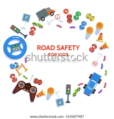 Road safety template with play car, road symbols. Vector illustration drivers education in flat style. Traffic laws concept on white background.