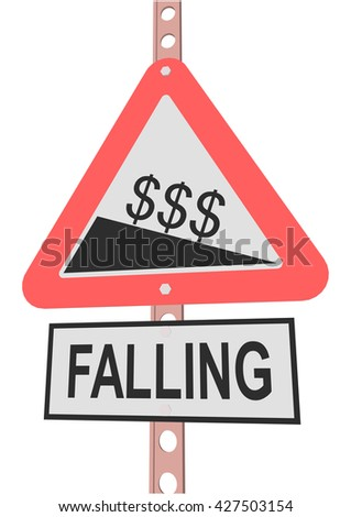 "road sign and a sign with the text ""FALLING"" - stock vector"