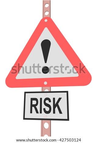 "road sign and a sign with the text ""RISK"""