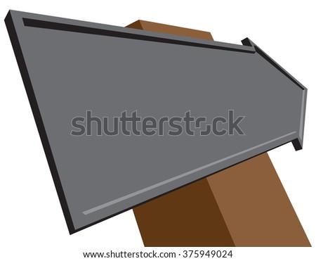 Road sign arrow, volume index, isometric view. - stock vector