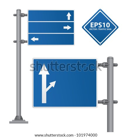 road sign blue color vector - stock vector