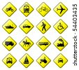 Road Sign Glossy Vector (Set 4 of 8) - stock photo