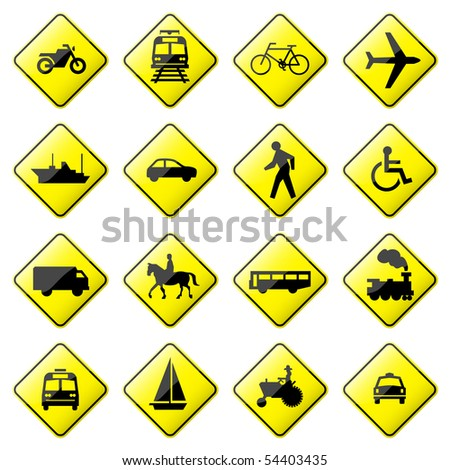 Road Sign Glossy Vector (Set 4 of 8) - stock vector