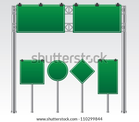 Road sign green illustration - stock vector