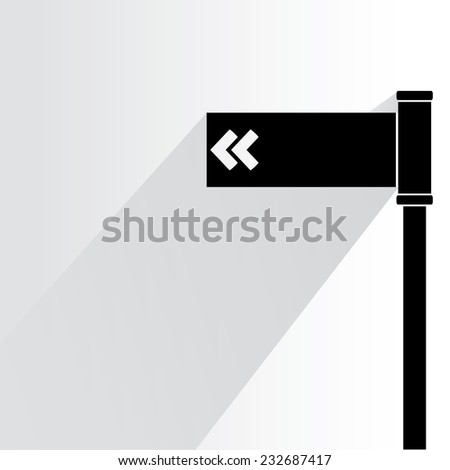 road sign on white background, flat and shadow theme