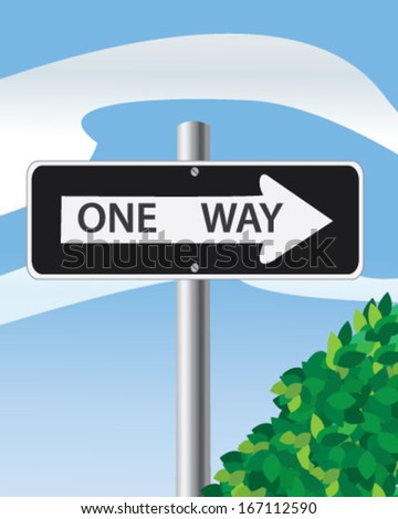 """Road sign """"one way"""" - stock vector"""